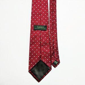 RALPH LAUREN Designer Red Silk Tie with White Dots